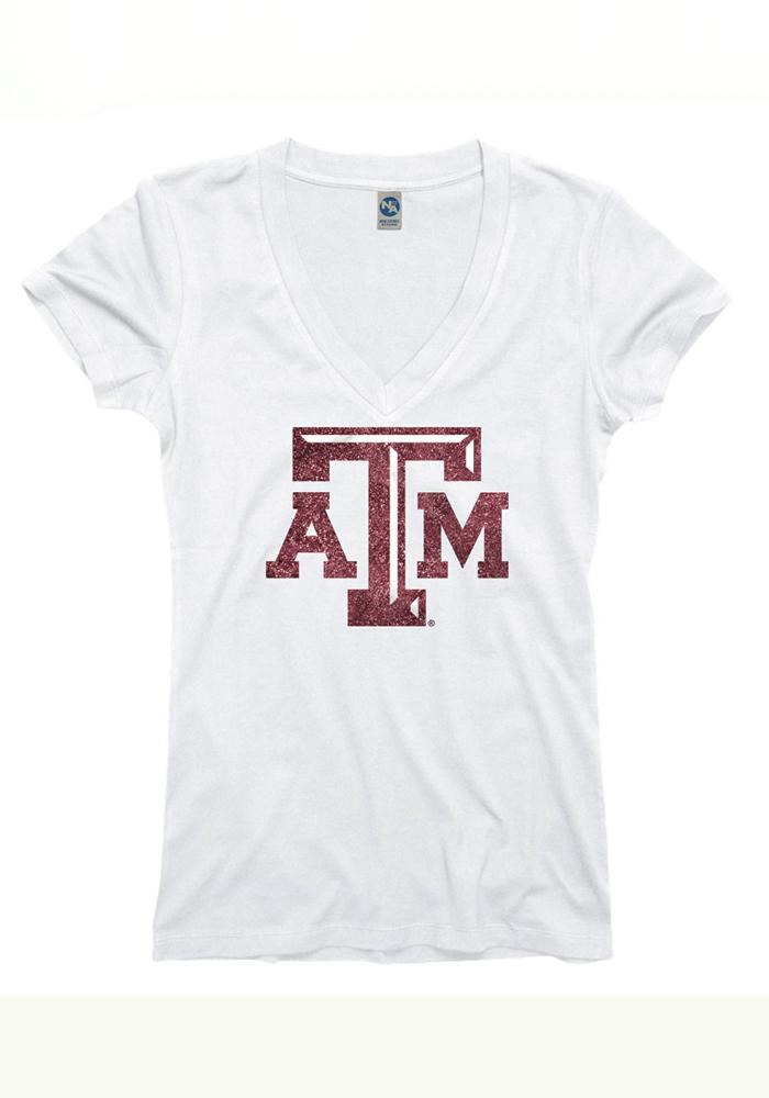 Texas A&M Aggies Juniors White Varsity Glitz V-Neck T-Shirt - Image 1