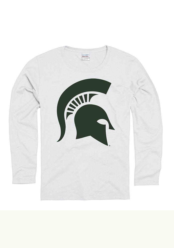 Michigan State Spartans Womens White Big Clean Long Sleeve Women's Crew - Image 1