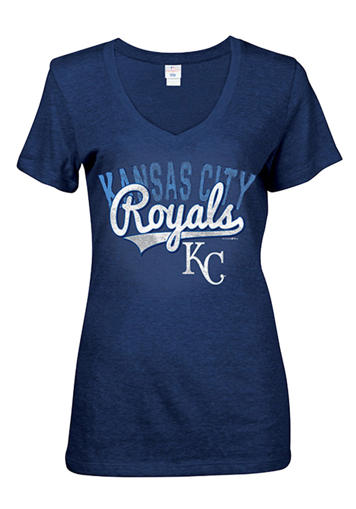 Kansas City Royals Womens Blue Tri-Blend V-Neck V-Neck - Image 1