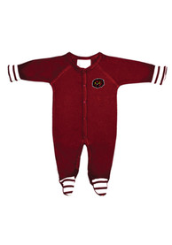 Temple Owls Baby Stripe Maroon Stripe One Piece Pajamas