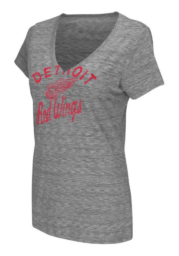 Detroit Red Wings Womens Grey All American V-Neck - Image 1
