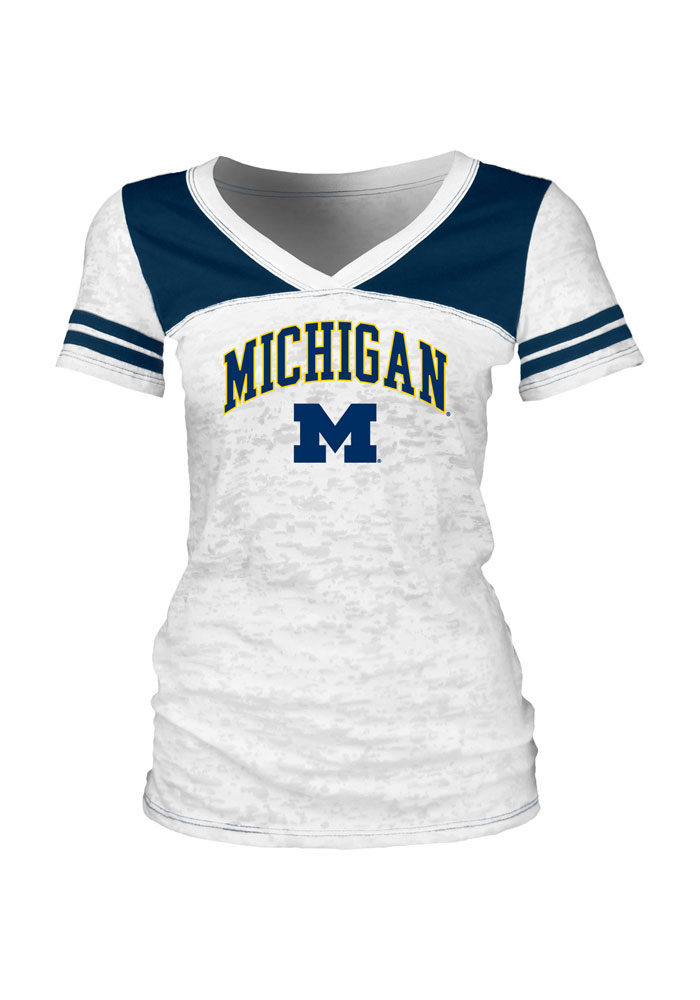 Michigan Wolverines Juniors White College Arch V-Neck T-Shirt - Image 1