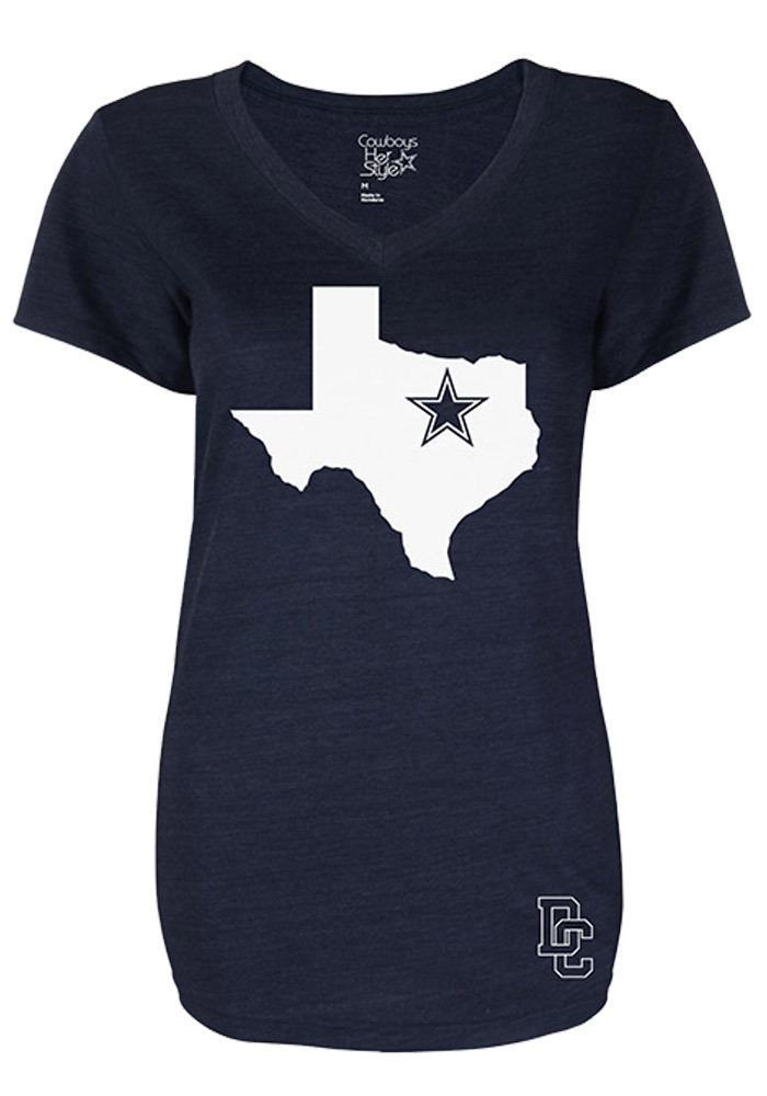 Dallas Cowboys Womens Navy Blue State of Mind V-Neck T-Shirt - 41021042 7319ebe17