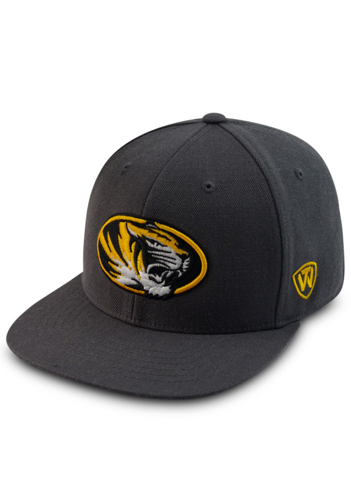Top of the World Missouri Tigers Mens Grey Prime Fitted Hat - Image 1