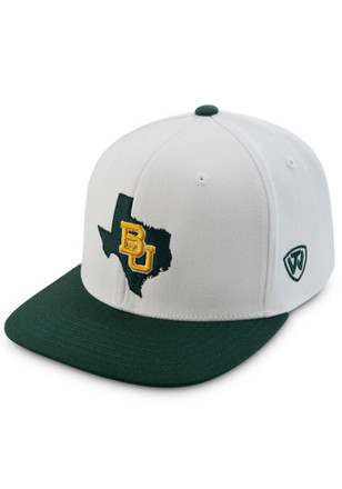 Top of the World Baylor Bears Mens White Statesman-Slam 1Fit Flex Hat