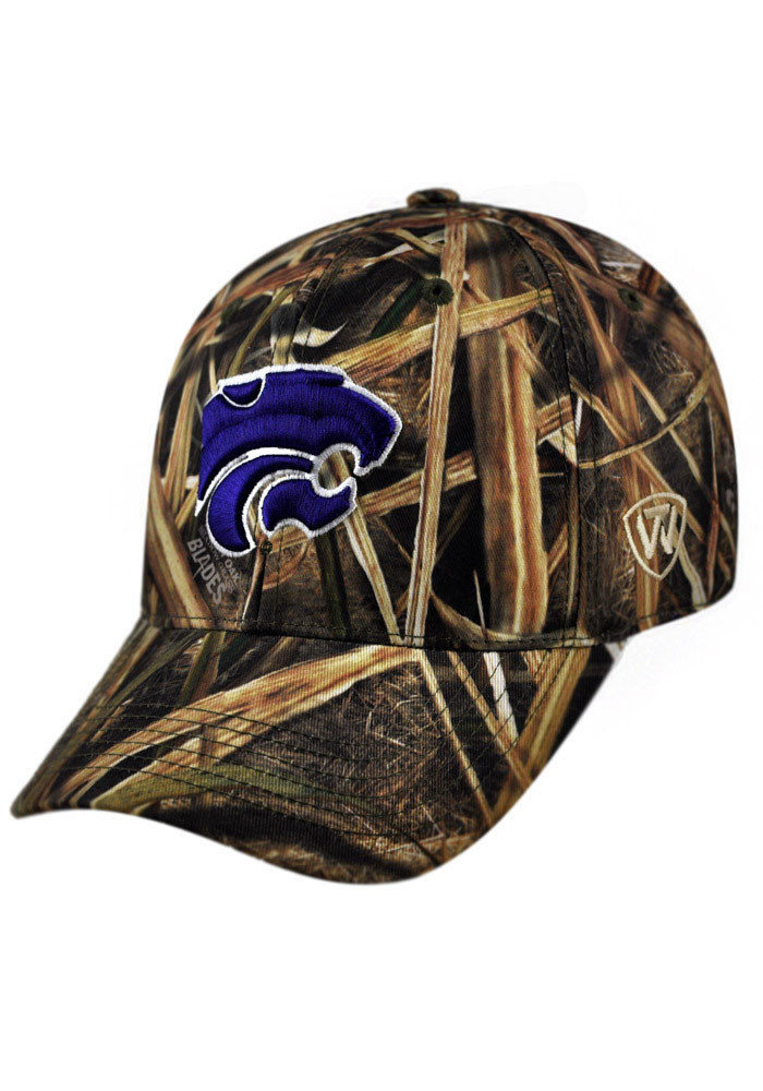 Top of the World K-State Wildcats Mens Green Blade Camo 1Fit Flex Hat - Image 1