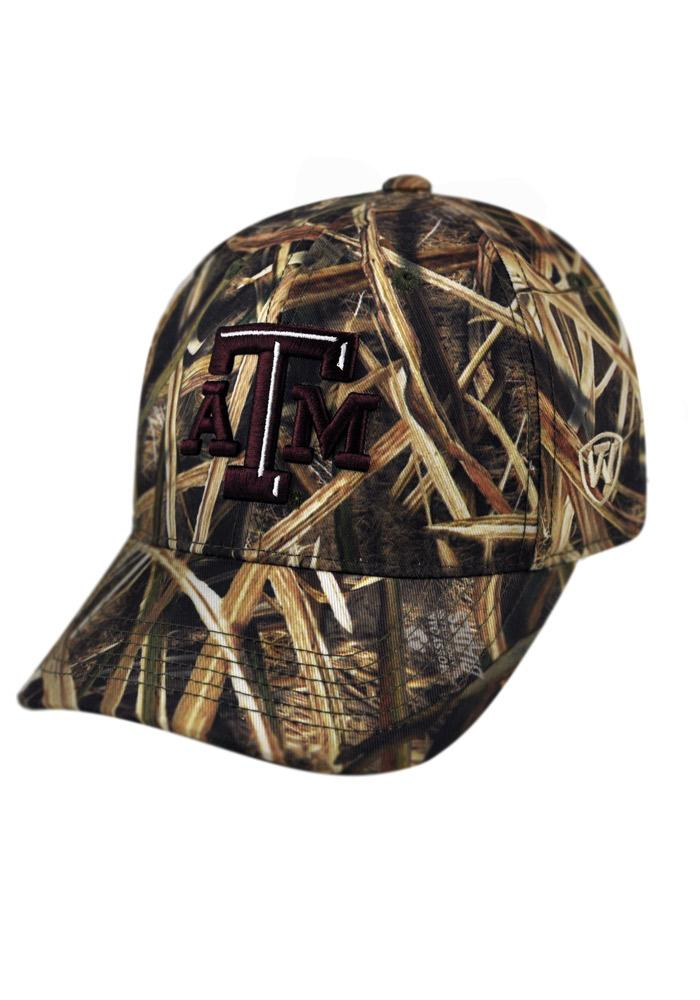 Top of the World Texas A&M Aggies Mens Green Blade Camo 1Fit Flex Hat - Image 1