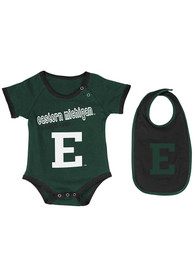 Colosseum Eastern Michigan Eagles Baby Green Logo One Piece with Bib