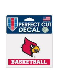 Louisville Cardinals 4x5 Basketball Perfect Cut Auto Decal - Red