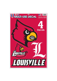 Louisville Cardinals 11x17 Multi Use Sheet Auto Decal - Red