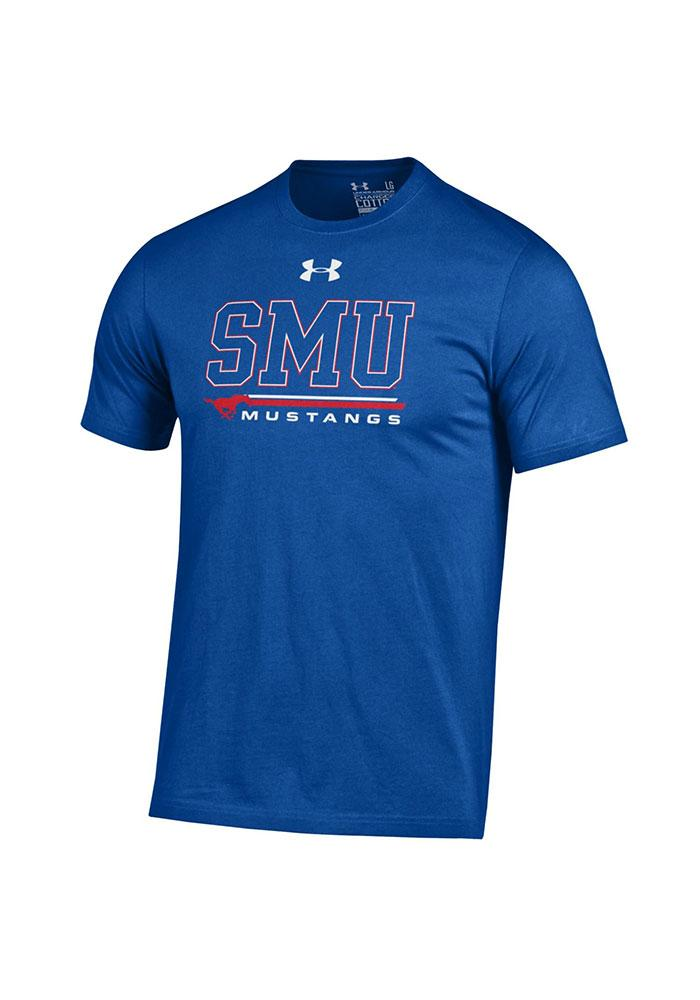 Under Armour SMU Mustangs Mens Blue Charged Short Sleeve T Shirt - Image 1