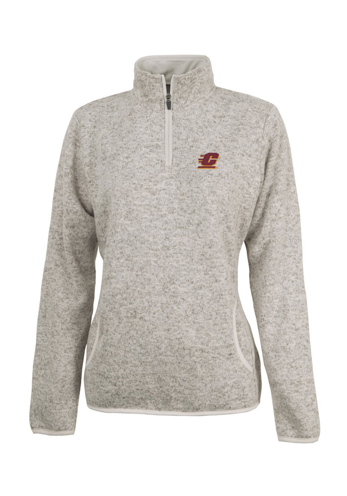 Central Michigan Chippewas Juniors Oatmeal Heather 1/4 Zip Pullover - Image 1