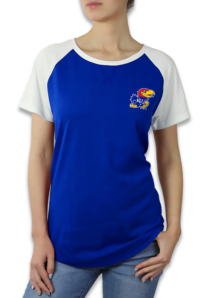Kansas Jayhawks Womens Blue Color Block Raglan Short Sleeve Crew T-Shirt - Image 1