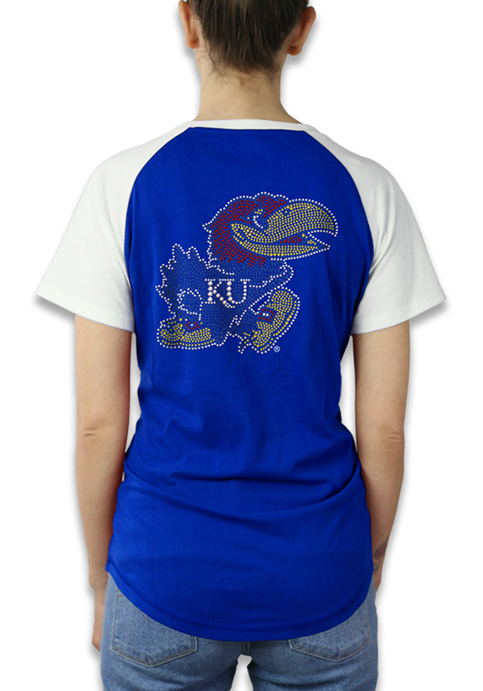 Kansas Jayhawks Womens Blue Color Block Raglan Short Sleeve Crew T-Shirt - Image 2