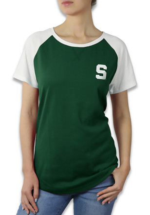 Michigan State Spartans Womens Color Block Raglan Green T-Shirt