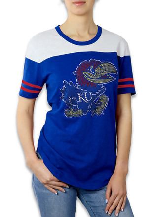 Kansas Jayhawks Womens Color Block Blue T-Shirt