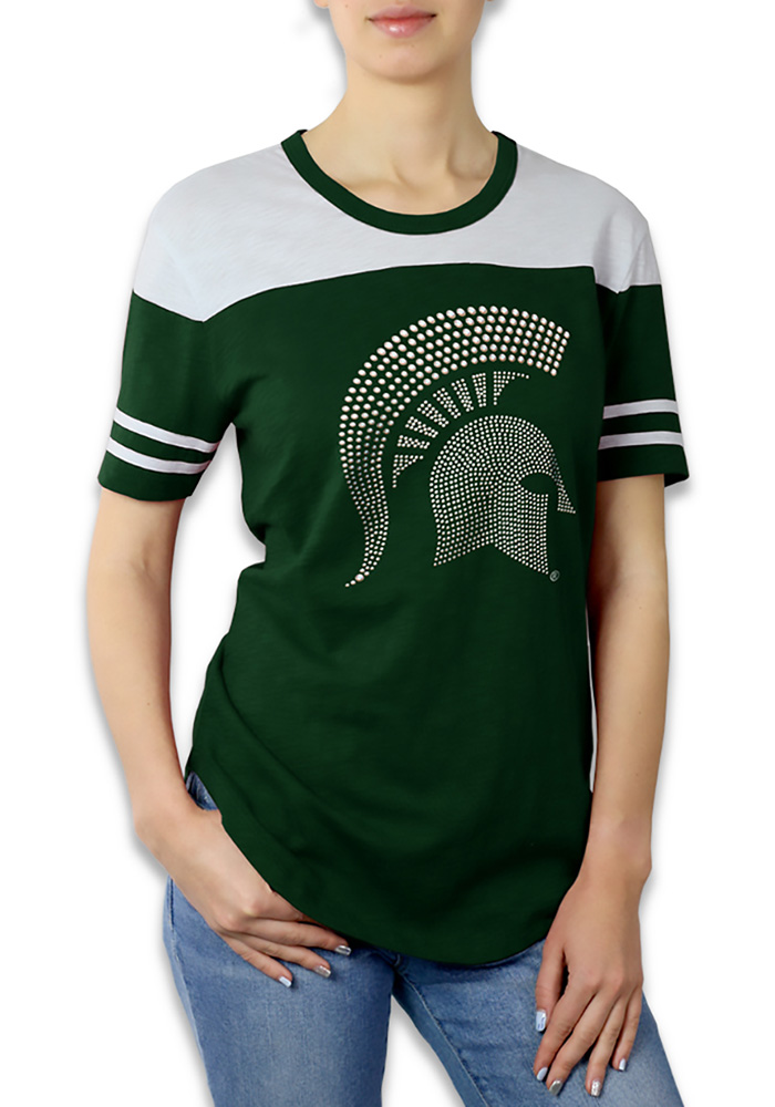 Michigan State Spartans Womens Green Color Block Short Sleeve Crew T-Shirt - Image 1