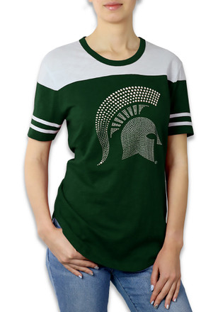 Michigan State Spartans Womens Color Block Green T-Shirt