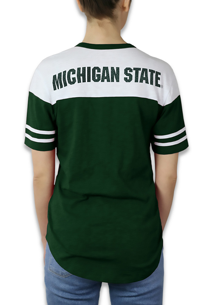 Michigan State Spartans Womens Green Color Block Short Sleeve Crew T-Shirt - Image 2