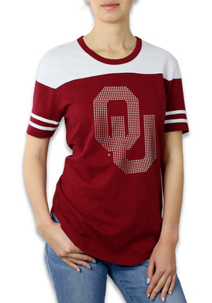 Oklahoma Sooners Womens Color Block Red T-Shirt