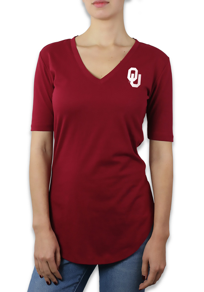 Oklahoma Sooners Womens Crimson Elbow Sleeve V-Neck T-Shirt, Crimson, 60% COTTON / 40% POLYESTER, Size XL