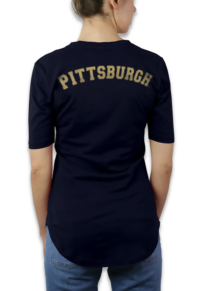 Pitt Panthers Womens Navy Blue Elbow Sleeve V-Neck T-Shirt - Image 2