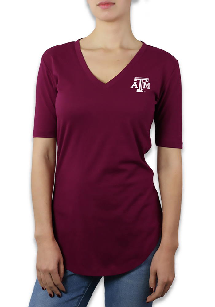 Texas A&M Aggies Womens Maroon Elbow Sleeve V-Neck