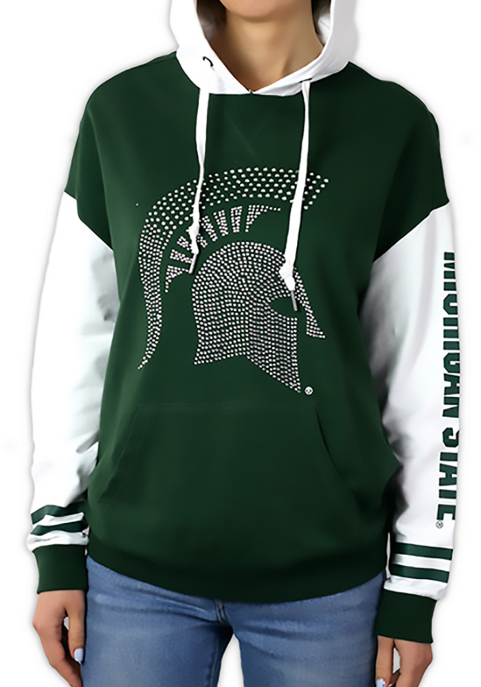 Michigan State Spartans Womens Green Color Block Hooded Sweatshirt - Image 1