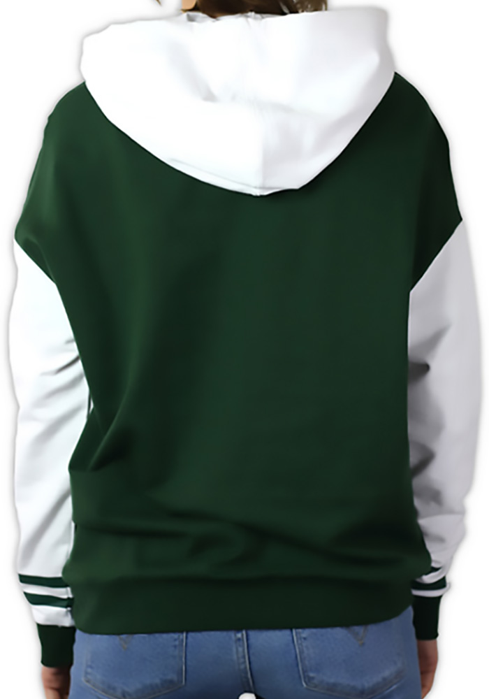 Michigan State Spartans Womens Green Color Block Hooded Sweatshirt - Image 2