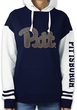 Pitt Panthers Womens Navy Blue Color Block Hoodie
