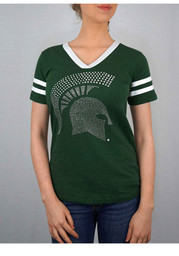Michigan State Spartans Womens V-Neck Tee Green Scoop T-Shirt