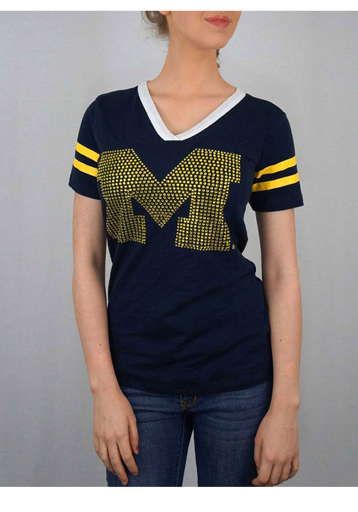 Michigan Wolverines Womens Navy Blue V-Neck Tee V-Neck T-Shirt, Navy Blue, 100% COTTON SLUB, Size L
