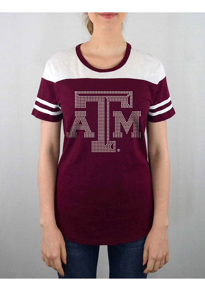 Texas A&M Aggies Womens Maroon Color Block Short Sleeve Crew T-Shirt - Image 1