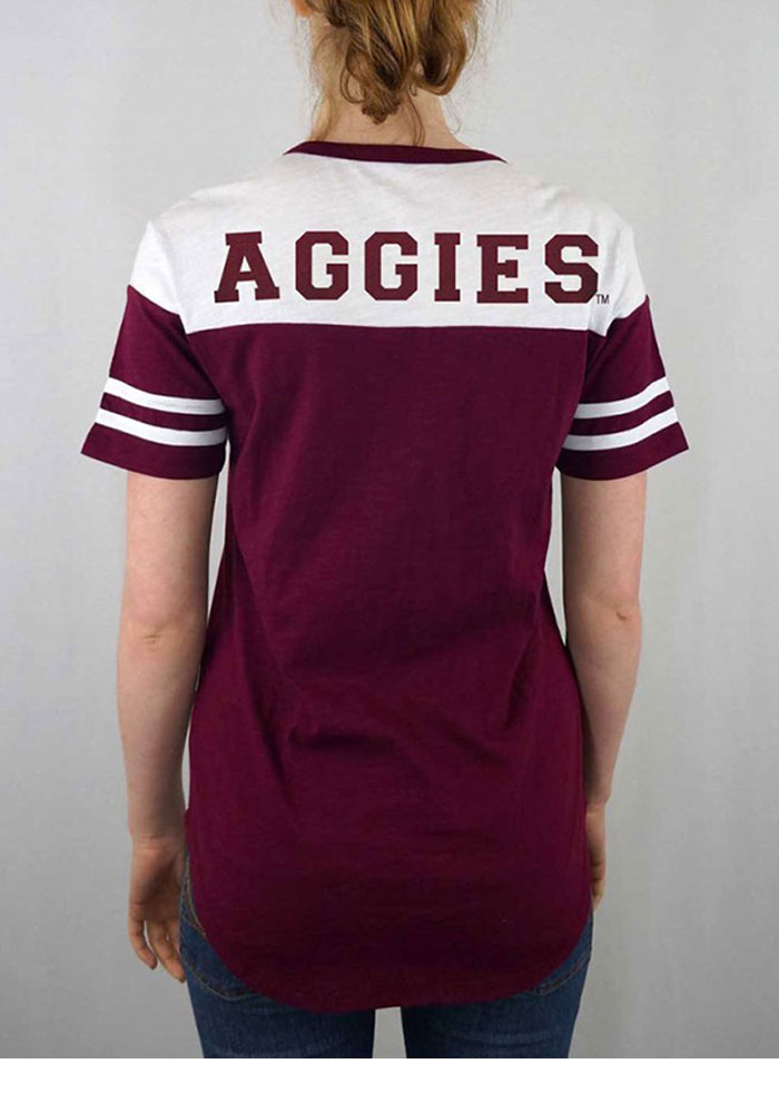 Texas A&M Aggies Womens Maroon Color Block Short Sleeve Crew T-Shirt - Image 2