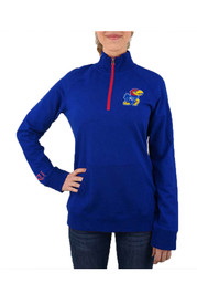 Kansas Jayhawks Womens Terry Tackle Blue 1/4 Zip Pullover