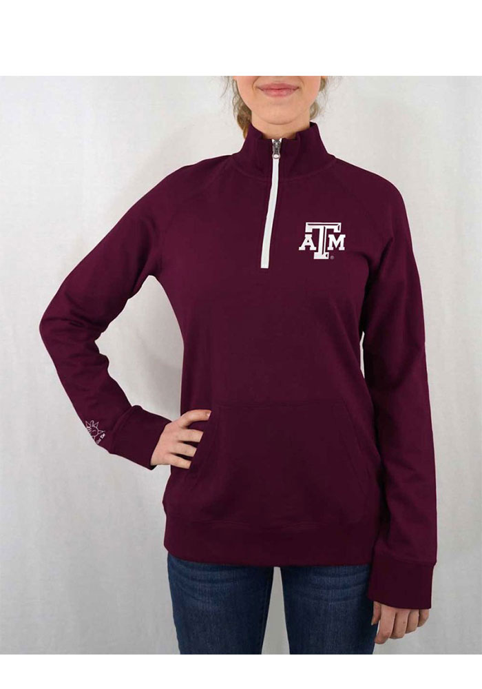 Texas A&M Aggies Womens Maroon Terry Tackle 1/4 Zip Pullover - Image 1