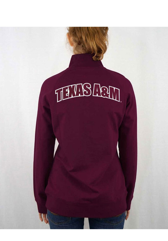 Texas A&M Aggies Womens Maroon Terry Tackle 1/4 Zip Pullover - Image 2