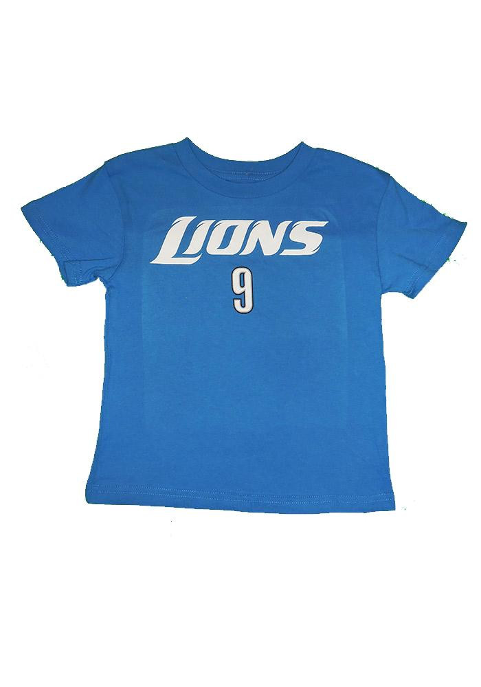Matthew Stafford Detroit Lions Toddler Blue Name and Number Short Sleeve Player T Shirt - Image 1