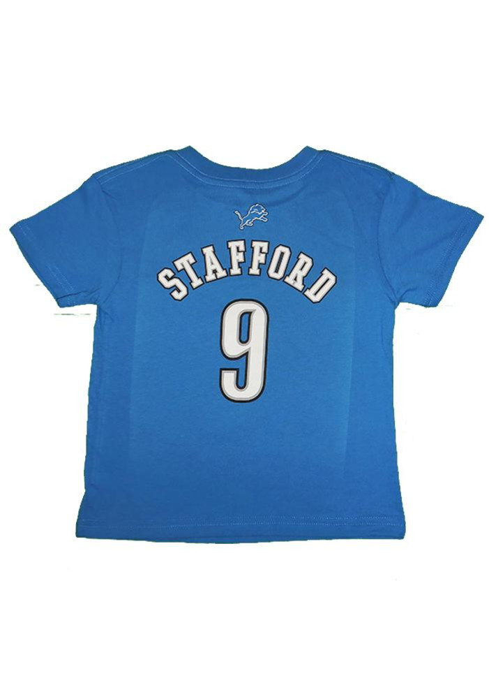 Matthew Stafford Detroit Lions Toddler Blue Name and Number Short Sleeve Player T Shirt - Image 2