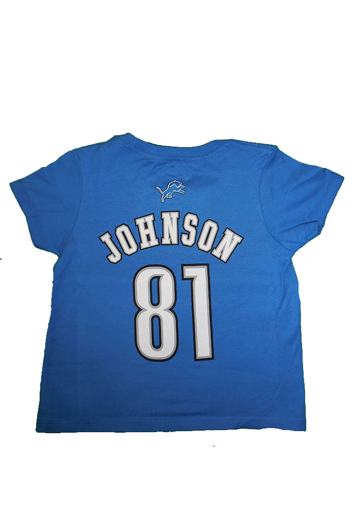 Calvin Johnson Detroit Lions Toddler Blue Name and number Short Sleeve Player T Shirt - Image 1