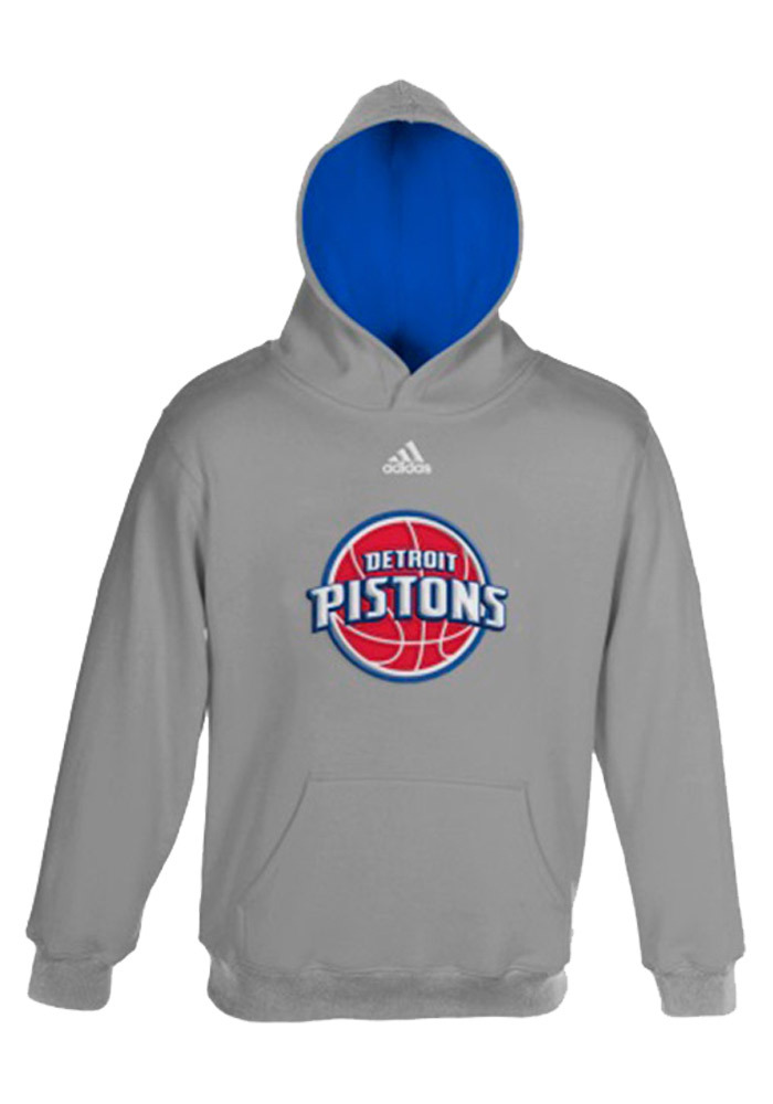 Detroit Pistons Boys Grey 4-7 Pullover Long Sleeve Hooded Sweatshirt - Image 1