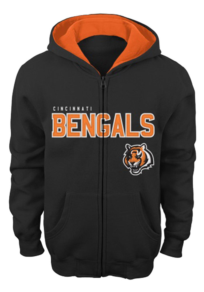 Cincinnati Bengals Youth Black Stated Full Zip Fleece Long Sleeve Full Zip Jacket - Image 1