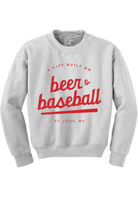 St Louis Beer Baseball Crew Sweatshirt - Grey