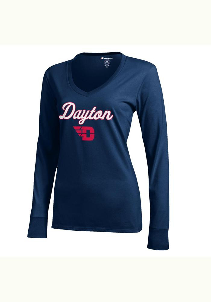 Dayton Flyers Juniors Navy Blue Campus Long Sleeve T-Shirt - Image 1