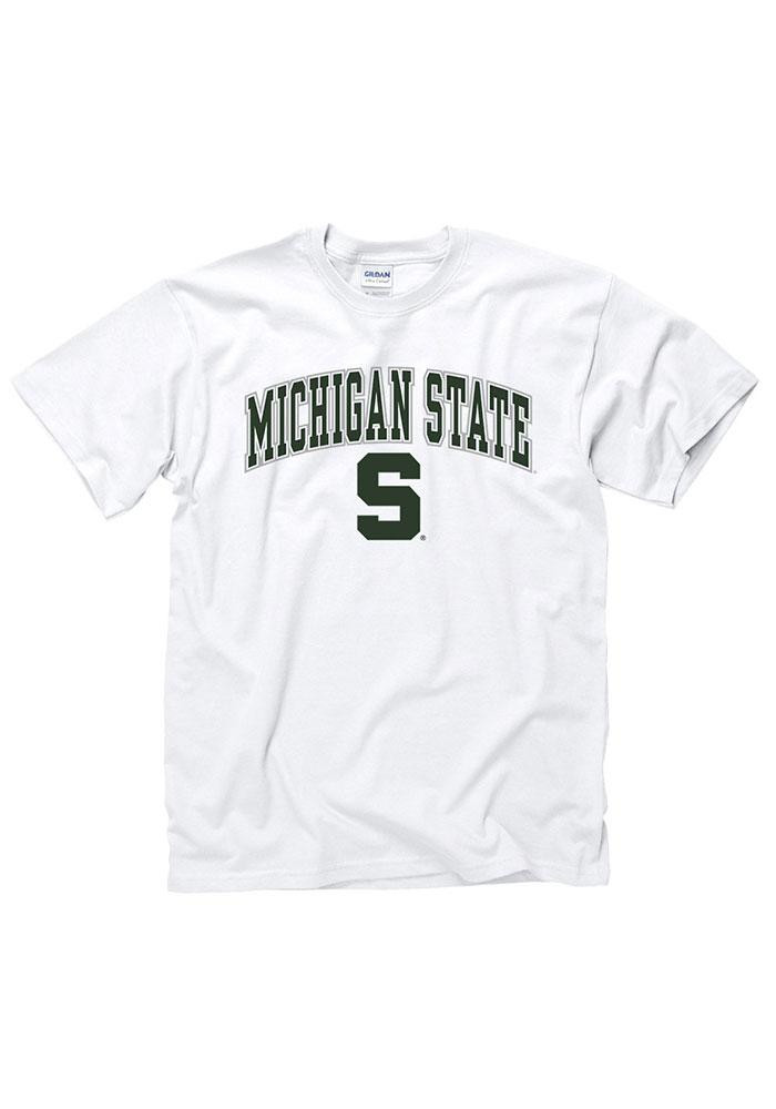 Michigan State Spartans Mens White Arch Logo Short Sleeve T Shirt - Image 1
