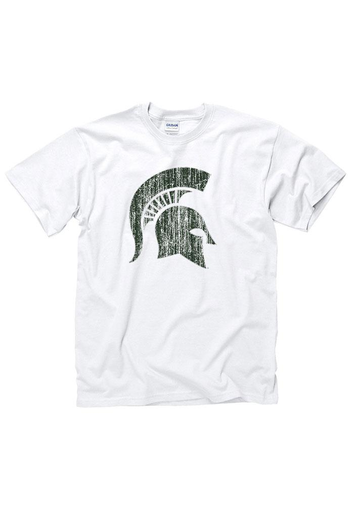 Michigan State Spartans White Distressed Tee
