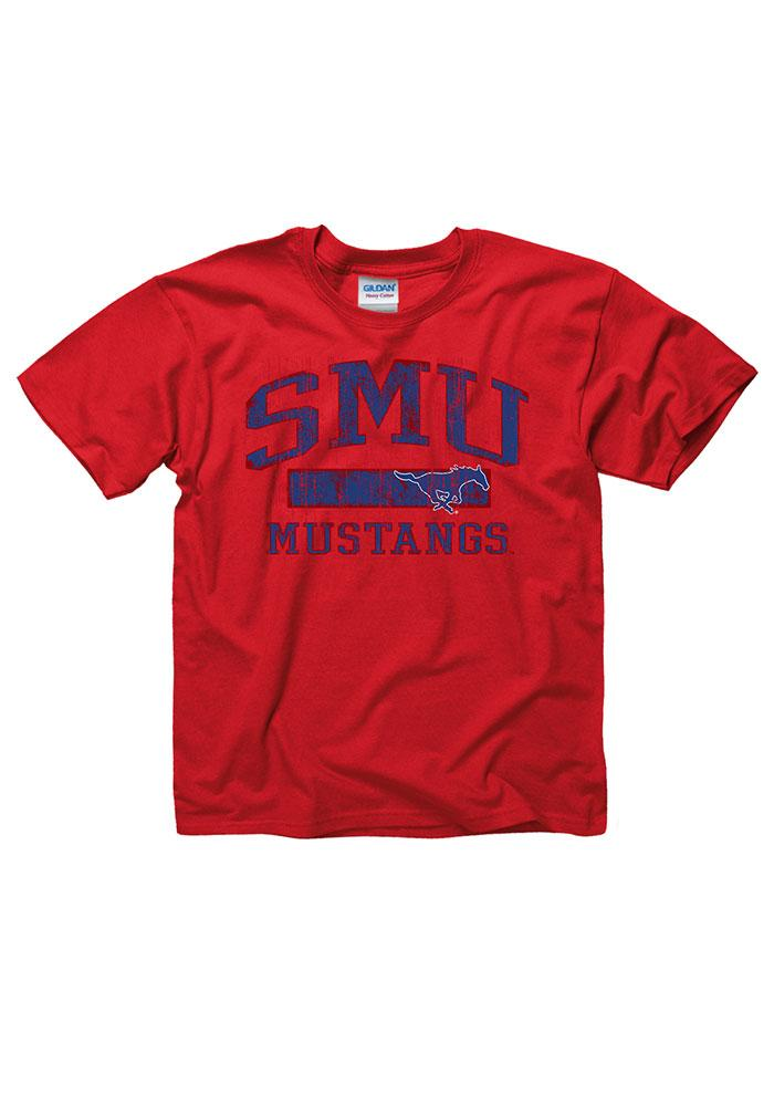 SMU Mustangs Youth Red Vintage Arch Short Sleeve T-Shirt - Image 1
