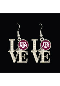 Texas A&M Aggies Womens Love Dangle Earrings - Red