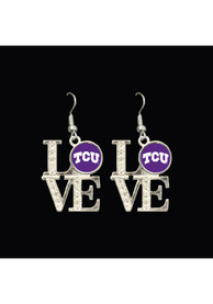 TCU Horned Frogs Womens Love Dangle Earrings - Silver