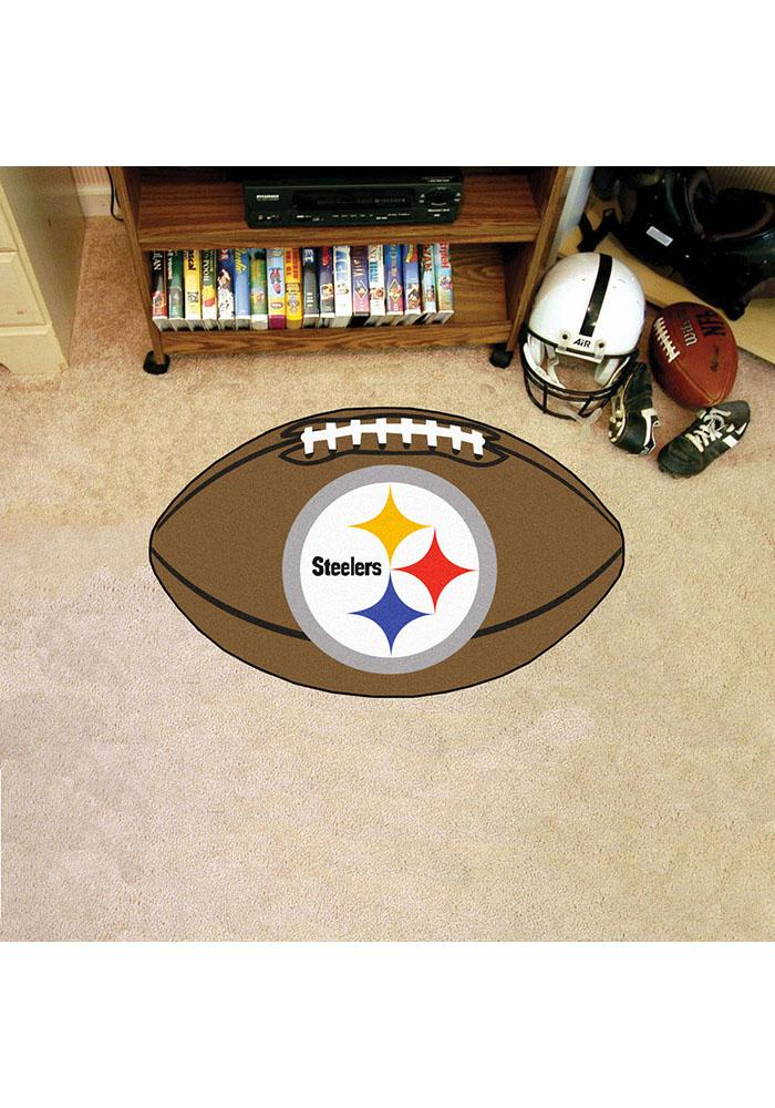 Pittsburgh Steelers 22x35 Football Interior Rug - Image 1